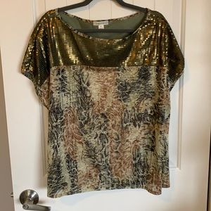 Gold sequin dolman like top